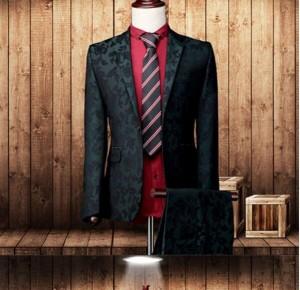 花柄 ベスト付き 長袖 ビジネススーツ ジャケットミニマリスト フォーマル 男性用 リクルート 卒業式面接 入学式 花婿 3点セット