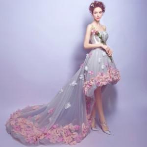 新作  高級感 パーティードレス 不規則裾 ウエディングドレス トレーン  結婚式 二次会披露宴  エレガント 編み上げ 着痩せ