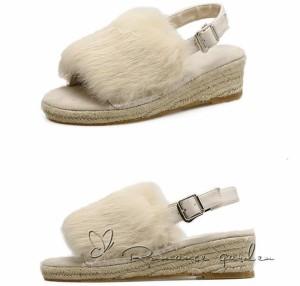 ファーオープントゥ パンプス ファー付き  レディースファンション サンダル 暖かい防寒 可愛い靴/シューズ 厚底