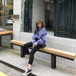 フリルがかわいい♡ シフォン ボリューム袖 トップス