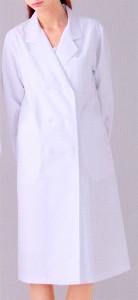 125-90 レディス診察衣W型  長袖 全1色 (看護師 ドクター ナース 介護 メディカル白衣 「KAZEN」)
