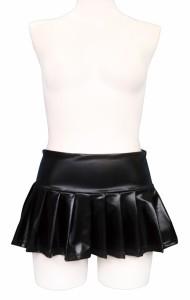■送料無料■エナメルミニプリーツスカート おとこの娘用■ 色:黒 男の娘  女装子 大きいサイズ【お取り寄せ】