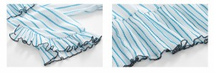 目の覚めるストライプとフリッフリの襟・袖・裾がガーリー♪ウエストゴムの半袖ワンピース5341
