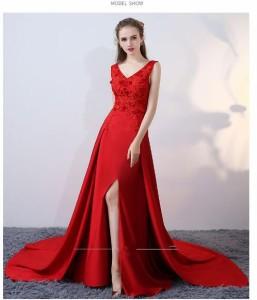 トレーンドレス 忘年会 結婚式  お呼ばれ 花嫁 Aラインドレス ★ウェディングドレス ★パーティードレス エレガント  Vネック