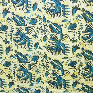 バティック ソロ ジャワ 更紗 プリント ブルー アイボリー 鳳凰 アジアン布  アジアン バリ タイ 雑貨