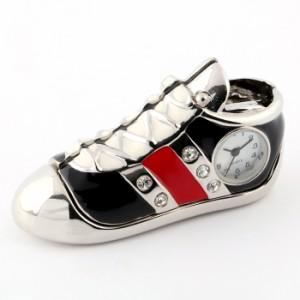 ミニチュア置時計 C3587-BK 靴 シューズ スニーカー ブラック シルバー 黒 ミニチュアクロックコレクション