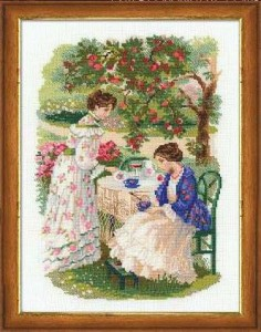 RIOLISクロスステッチ刺繍キット No.1140 「The Russian Country Estate. The Tea Under the Apple Tree」 (リンゴの木の下でお茶)