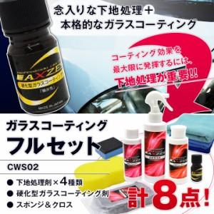 ガラスコーティング フルセット (CWS02) 下地処理剤×4種類 硬化型ガラスコーティング剤 スポンジ&クロス付