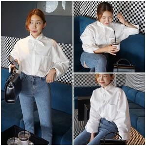 2018春夏 ブラウス ホワイト オーバーサイズ ゆったり ボリューム袖 デザイン袖 0242