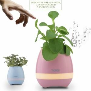 【RQTX】 音楽植木鉢 マジックミュージックフラワーポット ブルートゥーススピーカー  ピアノ ムードライト  (ブルー)