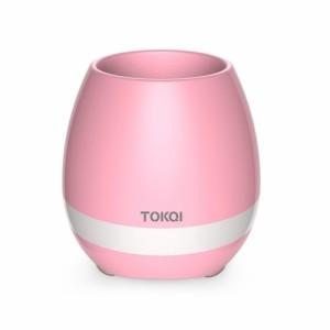 【RQTX】 音楽植木鉢 マジックミュージックフラワーポット ブルートゥーススピーカー  ピアノ ムードライト  (ピンク)