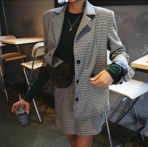 おじコーデ 人気 チェック柄 ジャケット セットアップ おじジャケット レトロ チェック グレー ショート丈 スカート