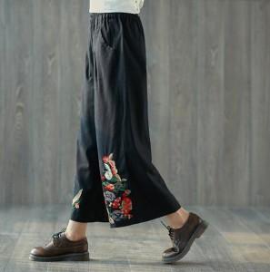 中国風 ボトムス 大きいサイズ レディース チャイナ風 エスニックリネン 刺繍/コットン/ワイドレッグパンツ 夏 体型カバー