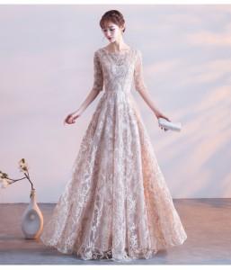袖ありロングドレス 演奏会 パーティードレス 結婚式ドレス ウエディングドレス 袖ありドレス お呼ばれ 発表会  二次会 忘年会
