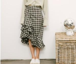スカート アシンメトリー チェック柄 フリル グリーン ブラウン 全2色 24841