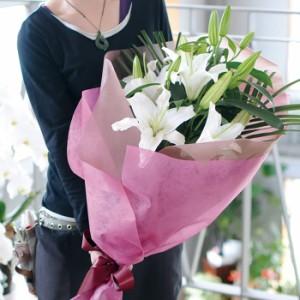 白の大輪百合の花束60リン以上/誕生日・記念日などに/ユリ/ゆり 白ユリ 白ゆり 白百合 【送料無料】