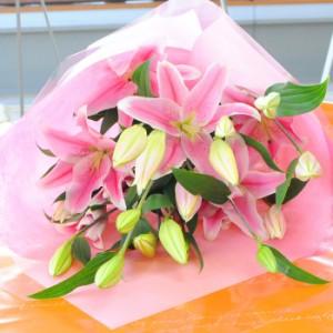 送料無料 大輪系ピンク百合の花束80リン以上サプライズのギフトに!【送料無料】