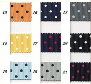 ドットプリント グログラン リボン 25mm 30m巻 全21色 水玉 SHINDO 服飾 手芸 ラッピング SIC-310-250