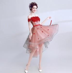結婚式 ウェディングドレス ミニドレス ナイトドレス花嫁 披露宴 花柄 ワインレッド オフショルダーパーティドレス舞台衣装 二次会