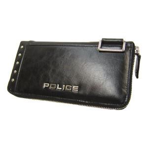 POLICE ポリス 長財布 牛革 Avoid スタッズ付き ラウンドファスナー ロングウォレット 財布 PA-58602 BK ブラック 【送料無料】