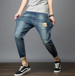 デニムパンツ カジュアル メンズ 大きいサイズ有り 薄手 ストレッチ ゆったり 九分丈 ボトムス 美脚
