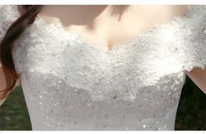 高品質☆お得ベール パニエ グローブ付☆大きいサイズ ウェディングドレス マタニティ トレーン オフショルダー♪結婚式 披露宴 BH002