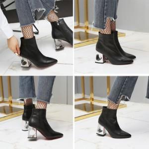 ショートブーツ/ブーツ 大きいサイズ8cmヒールブーツ/ショートレディース短靴/ハイヒール/スリッポン/走れるパンプス/冬用