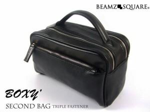 セカンドバッグ サフィアーノ 牛革セカンドバッグ かばん 鞄 メンズ 本革 牛革 レザー BEAMZ SQUARE 通勤 通学 カバン 鞄