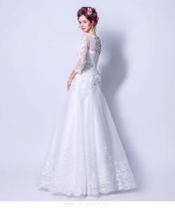 48c2bc4dad6c8 エレガント マーメイドライン ウエディングドレス 花嫁 白 ホワイト 結婚式ドレス 長袖 細身 ウエディングドレス