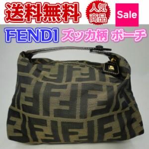 ☆ フェンディ FENDI ポーチ ズッカ柄 キャンバス ☆ fendi 【中古】used即納!送料無料