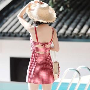 リボン結び かわいい ギンガムチェック柄 ワンピース水着 体型カバー 南国 海 プール 旅行 夏 リゾート バックコンシャス ガーリー