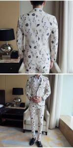 スリムスーツ セットアップ メンズ カジュアル 紳士服 スリーピース お兄系 結婚式 二次会パーティードレス おしゃれ プリント