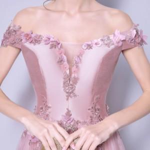 Vネック 刺繍 オフショルダー パーティードレス 二次会 花嫁 披露宴 ブライダル 結婚式 ロングドレス 大きいサイズ 忘年会 Aライン
