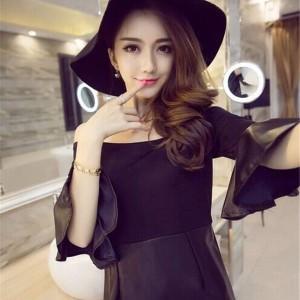 キャバドレス 63 黒 ブラック ボディコン ミニ ドレス オフショル フレアスリーブ ナイト パーティー セクシー 送料無料
