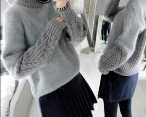 【送料無料】トップス ニット セーター もこもこ かわいい ケーブルニット タートルネック ミディアム丈 GY M lary-1403