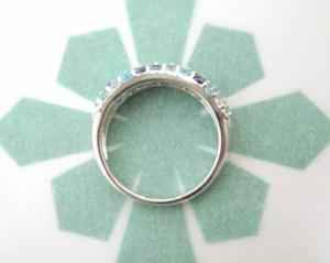 シルバー925 オーダーメイド リング 指輪◆Bブランド カラフルストーンのゴージャスパヴェ ブルー【ri-lwb-sv-ko-om】