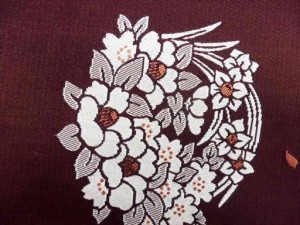半幅帯 半巾 細帯 浴衣帯 四寸帯 リバーシブル四寸帯 日本製 小豆地 花輪 柄 no2964