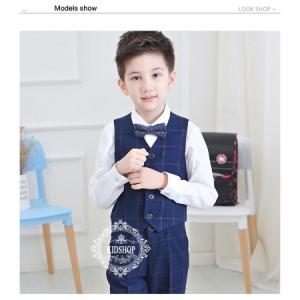 男の子入学式卒園式チェック柄ベスト子供服 お受験フォーマル発表会結婚式