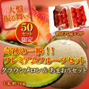 【特別企画】プレミアムフルーツセット(クラウンメロン 1玉 約1kg + あまおういちご 約270g×2パック) ※冷蔵☆
