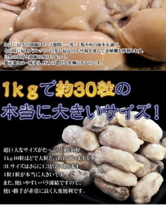 《送料無料》岡山・邑久産 『超巨大カキ(ムキ身)』3Lサイズ 約1kg(解凍後約800g)×2袋 ※冷凍 加熱調理用 牡蠣(かき) ☆