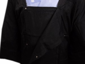 二部式和装雨コート(レインコート)黒色 着物時の雨の日も安心 収納ポーチ付