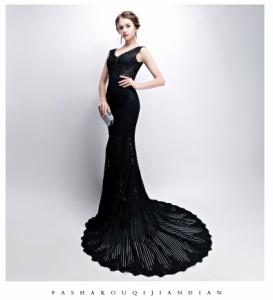 Formal dress Vネック マーメイドドレストレーン パーティードレス 優雅 ロングドレス フォーマルドレス お呼ばれドレス 司会 編み上げ
