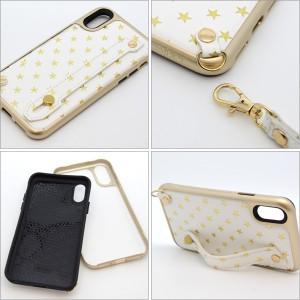 iPhoneX用 Kajsa カイサ Starry Straps Back case スターリー ストラップ バックケース iPhoneX 星柄 可愛い【メール便OK】