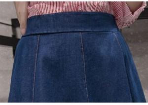 送料無料スカートデニムスカート/ デニムスカート大きいサイズ ロング/フレアスカート レディースデニムスカート 膝丈 スカート
