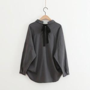 【お取り寄せ商品】着やせ効果抜群♪ 襟付き バックリボン シャツ ALOC10167
