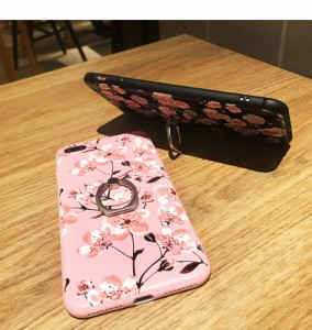 スマホケースiPhoneX/iPhone8iPhone8plus iPhone7 iPhone7plus iPhone6s iPhone6plusケース花柄リングストラップアイフォンケースdog0056