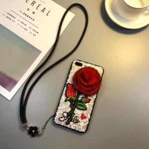 スマホケース iPhoneX/iPhone8iPhone8plus iPhone7 iPhone7plus iPhone6s iPhone6plusケース花柄ストラップアイフォンケースbl202