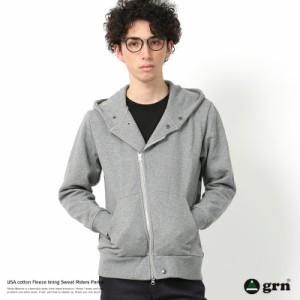 パーカー メンズ ライダース スウェット ジップパーカー 裏毛 フード 米綿 Wジップ grn ジーアールエヌ GU741223F 6586
