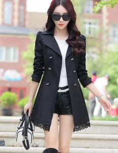 レース裾トレンチ コート スプリングコート ロング クラッシック スプリングコート トレンチコート魅力的エレガントAライン