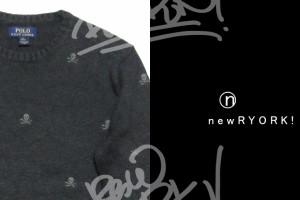 送料無料 キッズ セーター ダークグレー Polo Ralph Lauren ポロ ラルフローレン 大人も着れるボーイズラインコットンスカル刺繍ニット